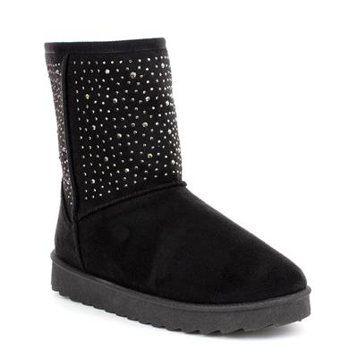Womens Black Studded Pull On Boot