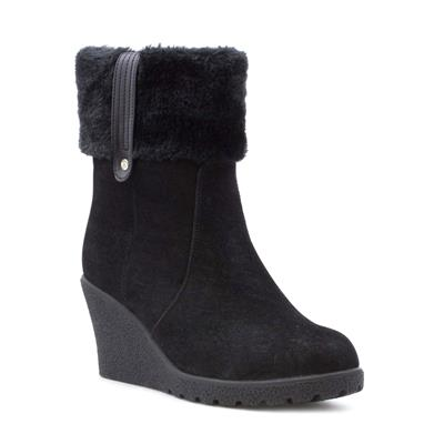 Womens Faux Suede Wedge Ankle Boot in Black