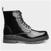 Lilley Womens Black Patent Zip Up Ankle Boot (Click For Details)