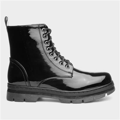 Womens Black Patent Zip Up Ankle Boot