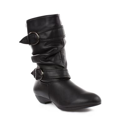 Womens Black Buckled Low Heel Boot