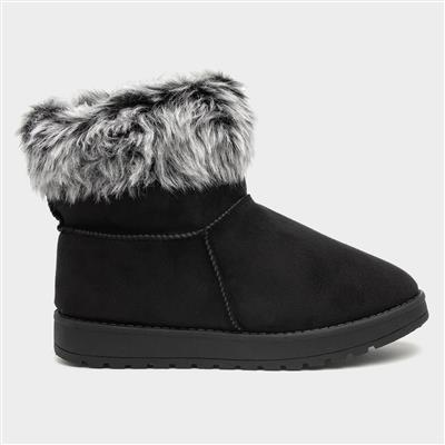 Womens Faux Fur Trim Pull On Boot in Black