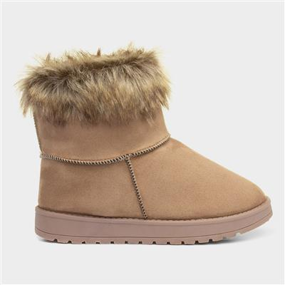 Womens Taupe Faux Fur Ankle Boot