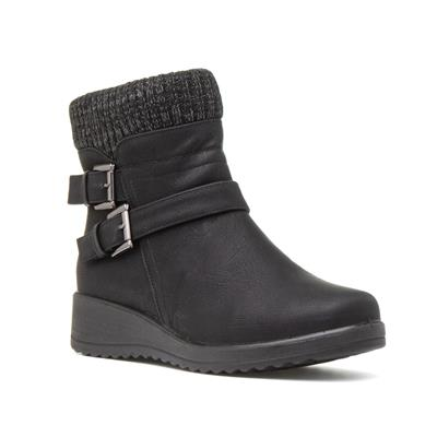 Womens Wedge Ankle Boot in Black