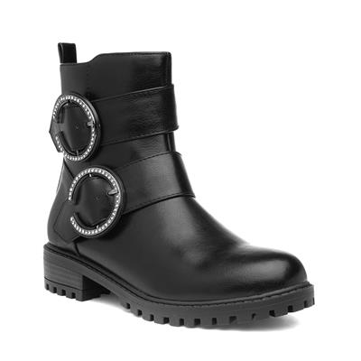 Womens Black Diamante Buckle Ankle Boot