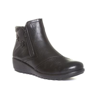 Flora Womens Black Wedge Ankle Boot