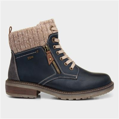 Womens Navy Lace Up Ankle Boot