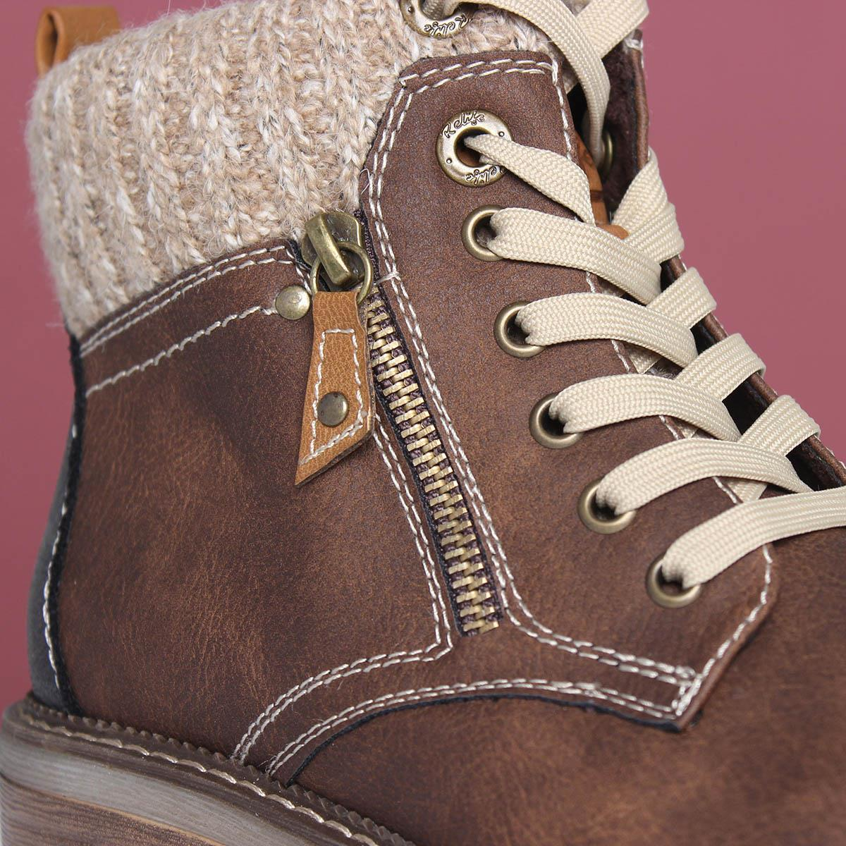 Relife Womens Brown Lace Up Ankle Boot
