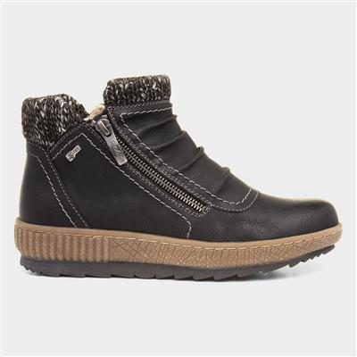 Womens Black Knit Trim Ankle Boot