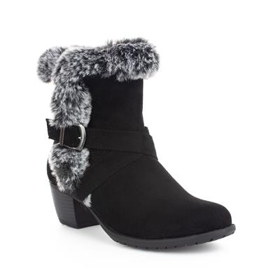 Womens Black Faux Fur & Suede Ankle Boot
