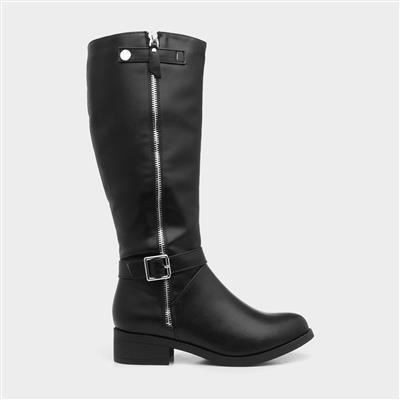 Womens Black Riding Boot with Silver Zip