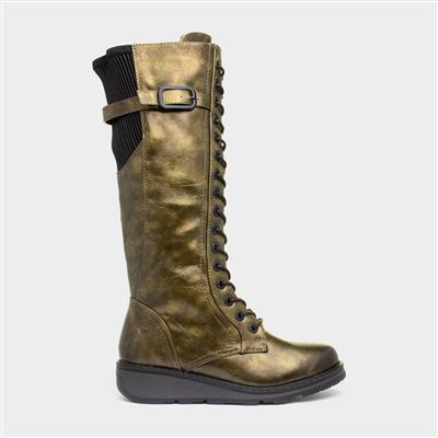 Solar Womens Green Lace Up Boot