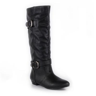 Womens Pull On Buckle Black Knee High Boot