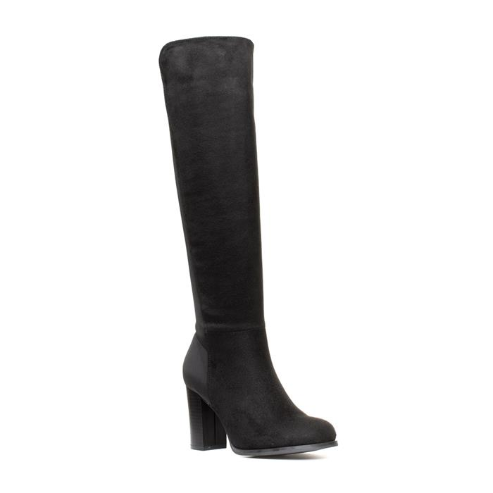 Lilley Womens Black Microfibre High Boot with Heel