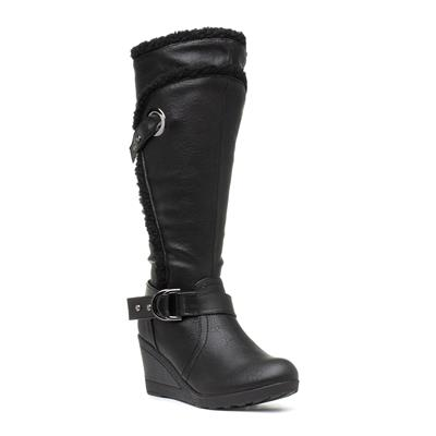 Womens Black Wedge Boot with Buckle