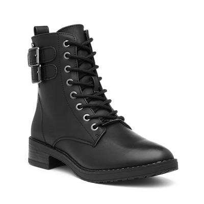 Womens Black Lace Up Heeled Ankle Boot