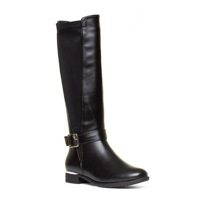 Womens Black Riding Boot with Buckle