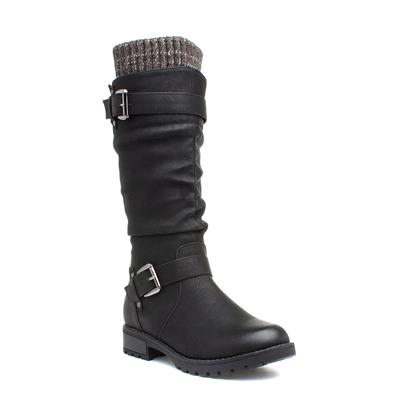 Juniper Womens Black Buckled Calf Boot