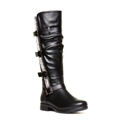 Womens Black Buckle Knee High Boot