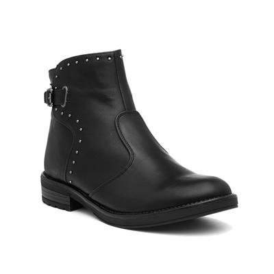 Womens Black Buckled Ankle Boot