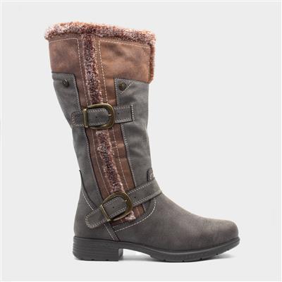 Womens Brown Faux Fur Casual Calf Boot