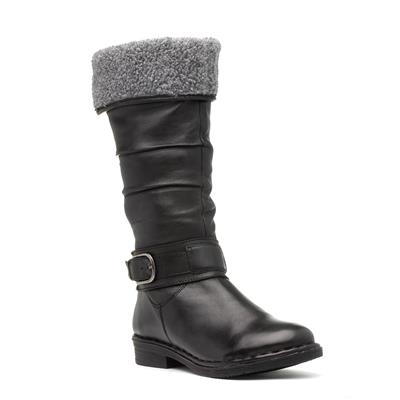 Talitha Womens Black Calf Boot with Buckle