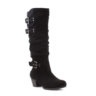 Womens Black Faux Suede Knee High Boot