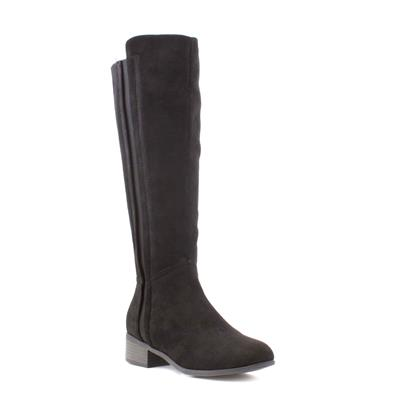 Womens Black Elastic Panel Riding Boot