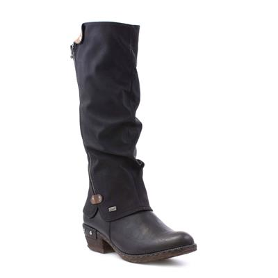 Womens Black Low Heel High Leg Boot