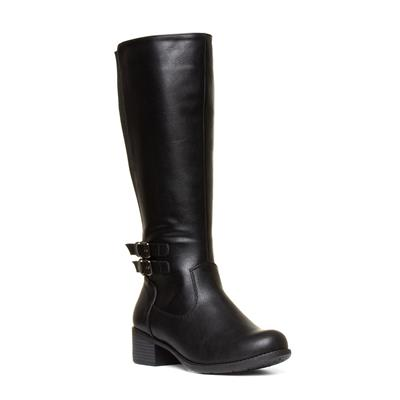 Womens Riding Boots with Buckle in Black
