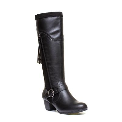 Womens Black Tassel Knee High Boot