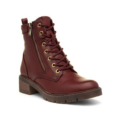 Womens Bordeaux Lace Up Ankle Boot