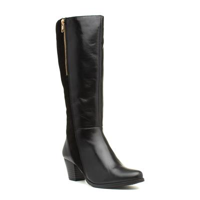 Becky Black Leather Wide Fit Boot
