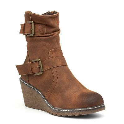 Pheobe Womens Tan Wedge Boot