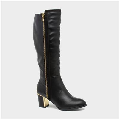 Gabrielle Black Heeled Knee High Boot