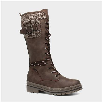 Womens Brown Lace Up Calf Boot