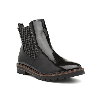 Womens Black Patent Chelsea Boot