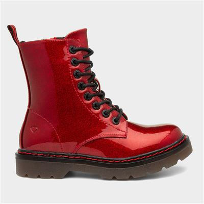 Justina Womens Red Ankle Boot