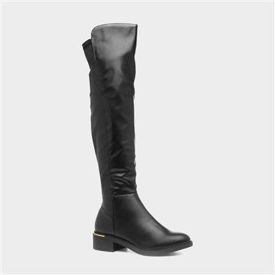 Adrea10 Womens Black Over the Knee Boot