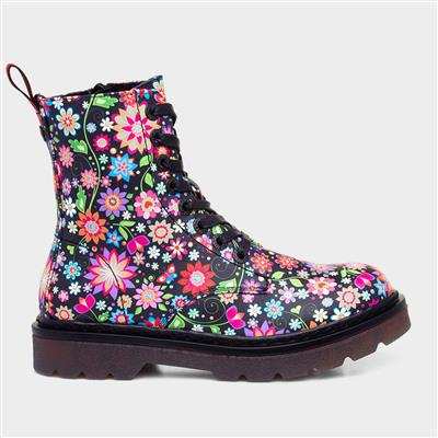 Justina Womens Floral Lace Up Boot