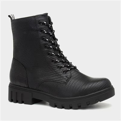 Womens Black Reptile Chunky Ankle Boot