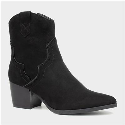 Womens Black Cowboy Heeled Ankle Boot