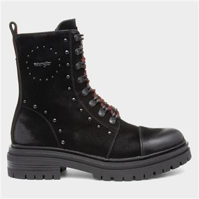 Courtney Womens Black Lace Up Boot