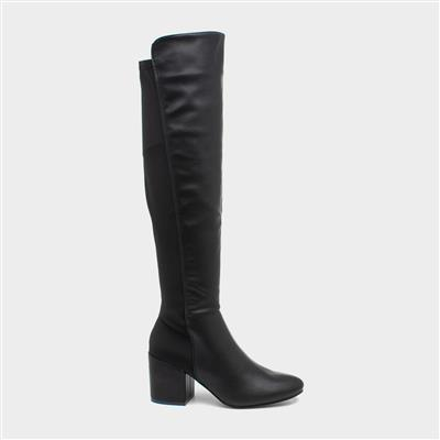 Womens Black Over the Knee Heeled Boot