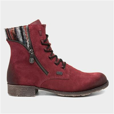 Womens 70840-35 Red Suede Ankle Boot