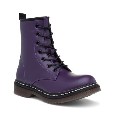 BUK2 Womens Purple Lace Up Ankle Boot