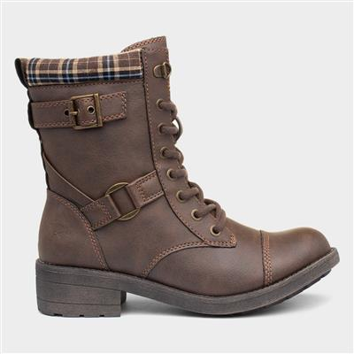 Thunder Womens Brown Lace Up Boot