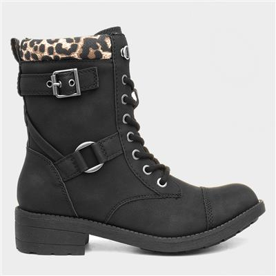 Thunder Womens Black Lace Up Boot