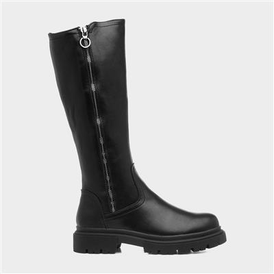 Womens High Leg Zip Boot in Black