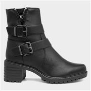 Sprox Womens Black Buckle Trim Ankle Boot (Click For Details)